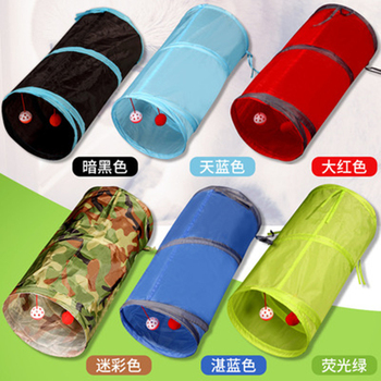 Cat Foldable Pet Pipe Tunnel House Toy Channel Rolling Totoro Tunnel Tee Dog Cat Training Plaything Aisle with bell Pet Supplies