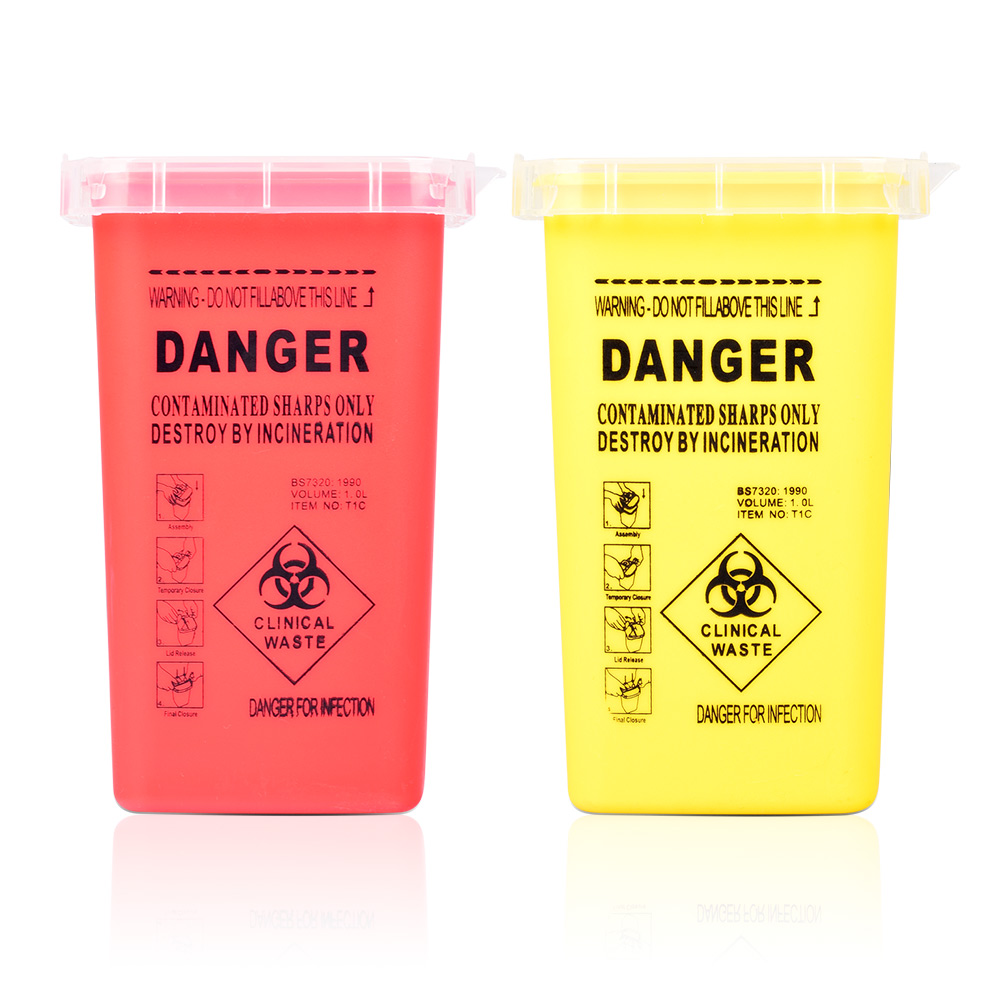 1L Capacity Sharps Container Medical Needles Bin Biohazard Tattoo Piercing Needles Disposal Collect Box Tattoo Artist Waste Box