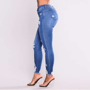 Womail Blue Jeans Women High Waist Jeans Skinny Fitness Stretch Holes Casual Pencil Pants Button Pockets Female High Waist Jeans