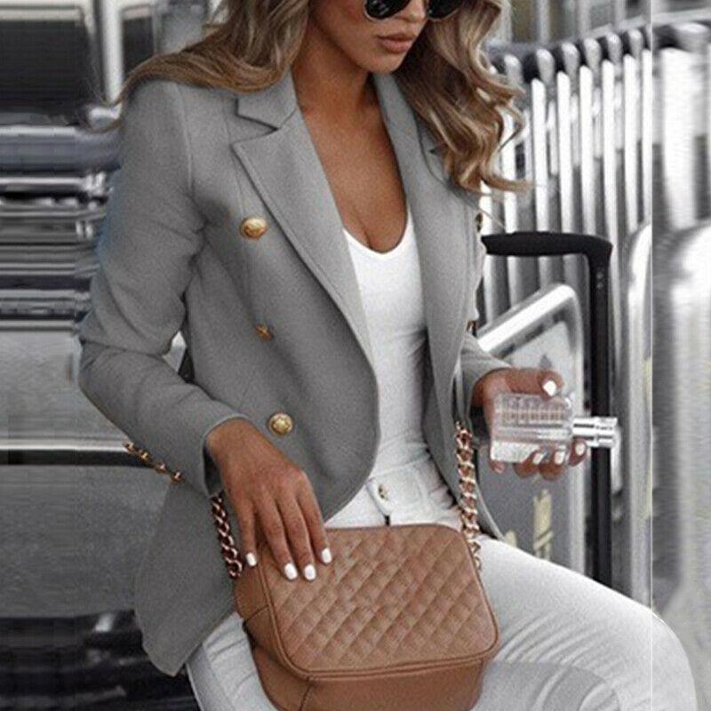 2020 Women Blazer Elegant Office Lady Business Suit Autumn Winter Work Blazer Jackets Tops Black White Coat Clothes Plus Size