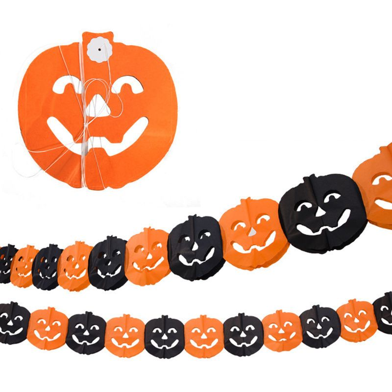 Halloween Decoration Party Supplies Paper Garlands Pumpkin Banners Banner for Home (10 Pcs/3M)