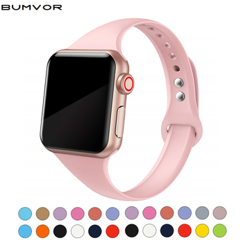 цена на Silm strap for Apple watch 5 band 44mm 40mm iWatch band 38mm 42mm Sport silicone bracelet Watchband for Apple watch 4/3/2/1 38