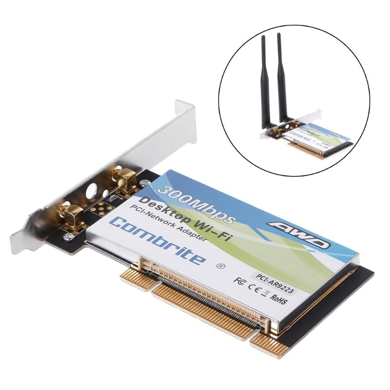 AR9223 PCI 300M 802.11b/g/n Wireless WiFi Card Adapter For Desktop Laptop 6DB Antenna