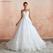 Strapless Ball Gown Vintage Wedding Dresses with Shinning Lace Appliques Luxury Bridal Gowns 45cm Tail 2019 Bride Dress(China)