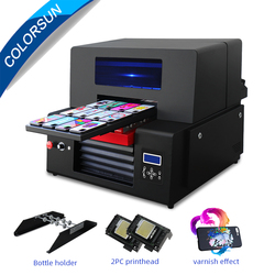 Colorsun Upgrade A3+ UV Printer 2 printhead with varnish UV flatbed printer for leather wood glass Phone Case bottle Printer