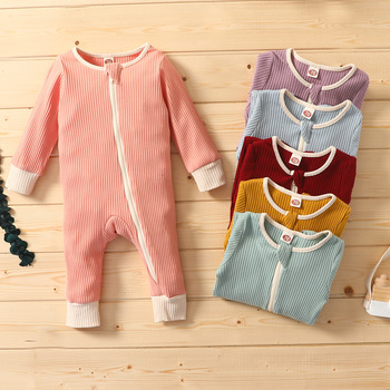 0-24M High quality Baby Jumpsuits Clothing Zipper Romper Long Sleeve Jumpsuits  baby girl fall clothes  one piece Outfits baby girl bodysuits winter warm newborn boys one piece jumpsuits cute rabbit knit long sleeve body suits with legs sunsuit 0 24m