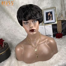 BLISS Short Bob парики Human Hair Pixie Cut Straight Brazilian Machine Made Body Wave парик For Black Women