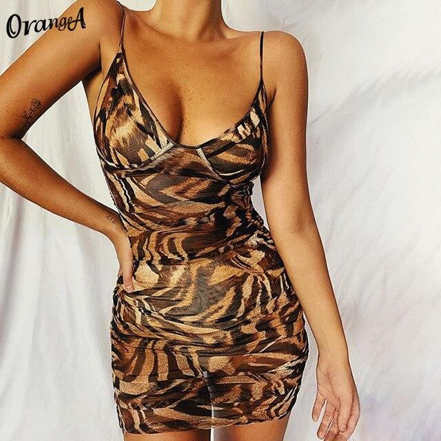 OrangeA-robe dété sexy à col en v, tenue moulante et slim pour femme, sans couleur, imprimé léopard, mini tenue de soirée en boîte de nuit