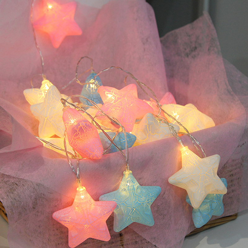 QYJSD Crack Star Garland Light String Decorative Christmas Tree Wedding New Year Fairy Hanukkah Home Holiday Party Decor Lights