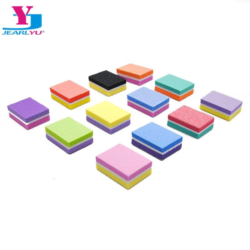 200 pcs lote mini prego arquivo bloco colorido prego buffer esponja dupla face lixa de unhas