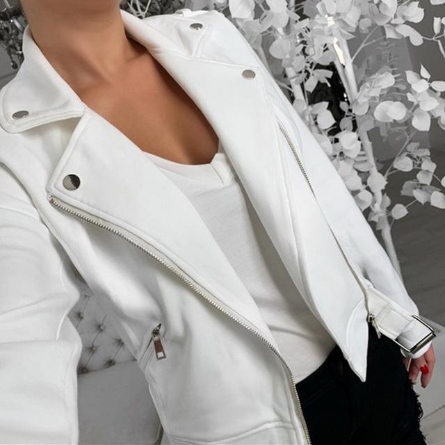 Autumn Women Black Slim Zipper Femme Outwear Coats Long Sleeve Jackets