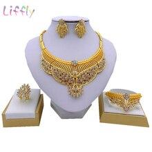 Dubai Fashion Jewelry Sets  Bride Big Necklace Flower Shape Crystal Earring Ring Charm Women Bracelet for