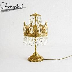 Rocznika miedzi kryształ lampa stołowa led do sypialni GoldenTable oprawa oświetleniowa badania nocna salon biurko lampa