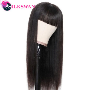 Straight Lace Front Wigs with Bang 13x4 Lace Wigs 150% or 250% Density 34 36 38 40 Long Inches Silkswan Human Hair Wig For Women