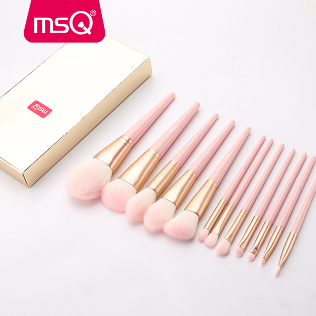 MSQ 12pcs MakeUp Brushes Set Powder Blush Eyeshadow pincel maquiagem Make up Brush Kits Cosmetic Tools With Pink PU Leather  Bag