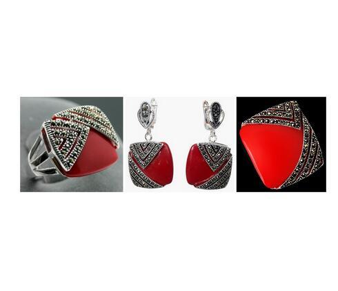 Noble rouge Jade sculpté laque Marcasite 925 bague carrée en argent Sterling (#6-9) boucles d'oreilles et pendentif ensemble de bijoux