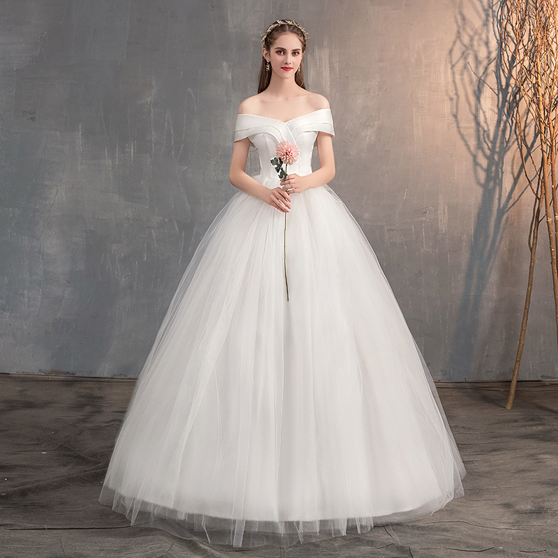 2019 Simple Satin Wedding Dress Off The Shoulder Off White Ball Gown Wedding Dress Fairy Sweetheart Bridal Dress