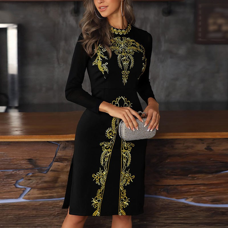 Women Sexy Slim Embroidery Long Sleeve Dress Plus Size Elegant Mid Party Work Club Wear