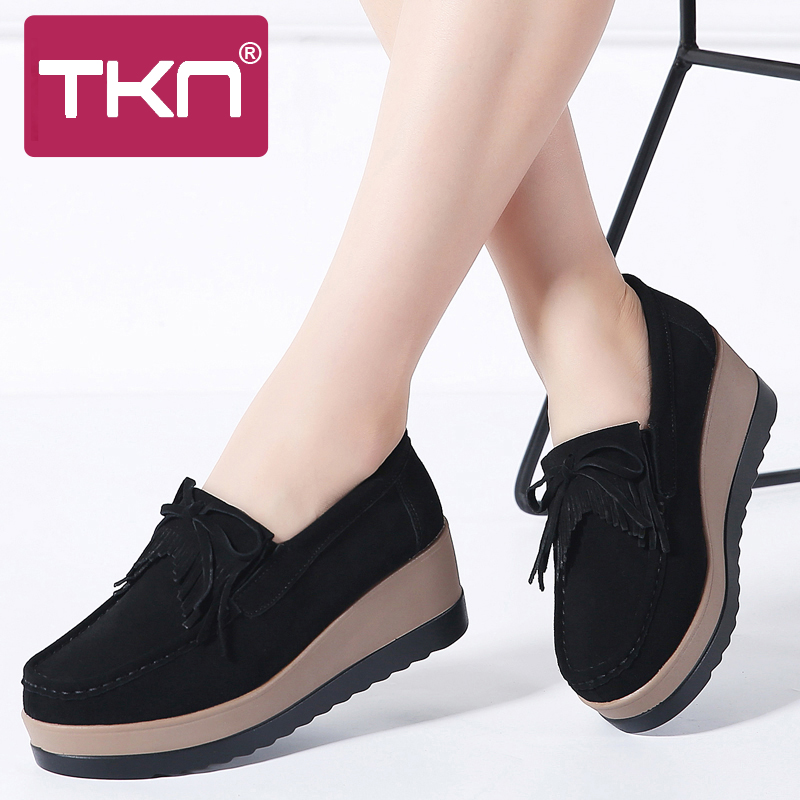 Autumn women platform shoes leather suede plush slip on sneakers chaussure femme tassel fringe loafers moccasins women shoes 912