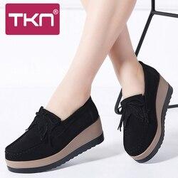 Outono sapatos de plataforma feminina camurça couro deslizamento em tênis chaussure femme borla franja mocassins sapatos femininos 912