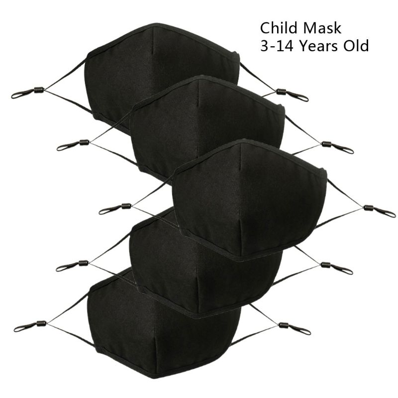 5Pcs Children Black Mouth Mask Adjustable Dust Proof PM2.5 4 Layer Cotton Mouth Mask Washable Reusable Outdoor Face Mask