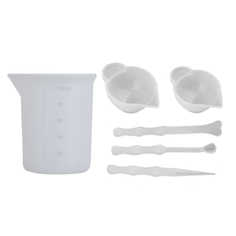 6 Pcs UV Resin Mixing Silicone Cup Mini Silicone Mixing Dish And Stirrers Epoxy Resin DIY Casting Jewelry Craft Tools