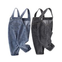 2021 pocket overalls boys cute women trousers jeans spring and autumn baby P4427