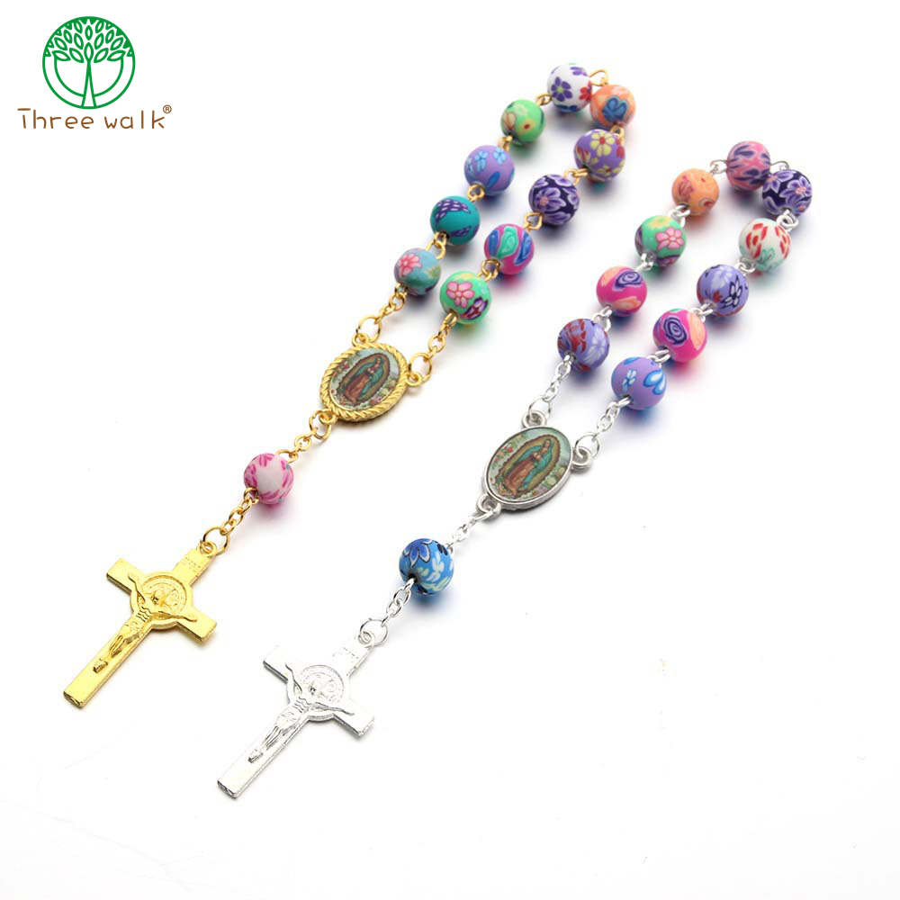10pcs Top Quality Polymer Clay Colorized Beads Catholic Rosary Bracelet Women Religious Jesus Crucifix Bracelet