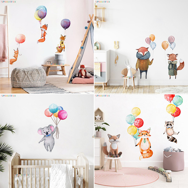 Animal Cartoon Wall Stickers For Kids Rooms Balloon Bunny Decorative 3D Wall Stickers For Children Rooms Large Kids Wall Decals 4