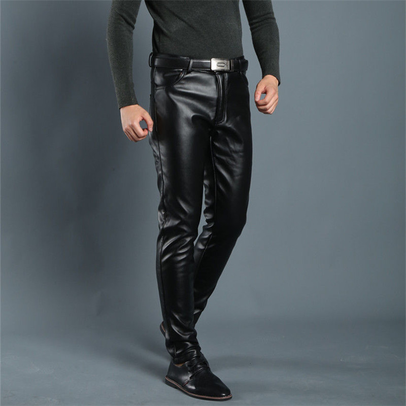 Spring Summer Men Leather Pants Elastic High Waist Lightweight Casual PU Leather Trousers Thin Causal Trousers 4