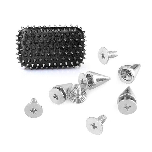 20/50/100 pièces bricolage artisanat pointes cône goujons métal 10mm taches Rivet cône Rock vêtements artisanat accessoires vis goujons maroquinerie