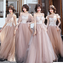 New Bridesmaid Dresses 2020 Brown A-Line Embroidery Wedding