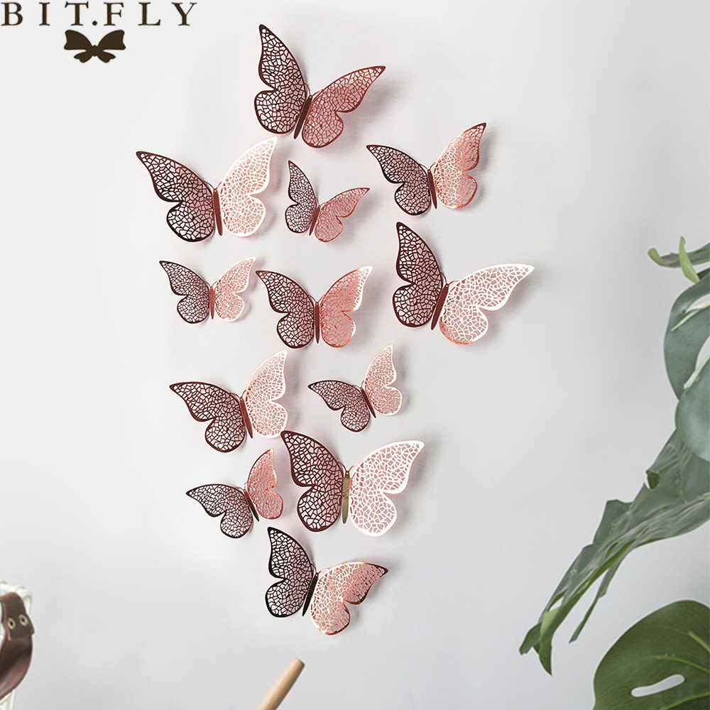 Hot Sell 12 Pcs Set 3d Butterfly Wall Stickers For Kids Rooms Home Wall Decor Diy Butterflies Fridge Stickers Room Decoration Wall Stickers Aliexpress