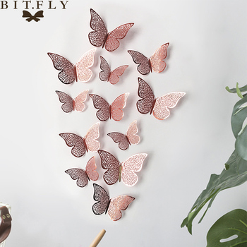 Hot 12 Pcs/Set 3D Wall Stickers Hollow Butterfly for Kids Rooms Home Wall Decor DIY Butterflies Fridge stickers Room Decoration цена 2017