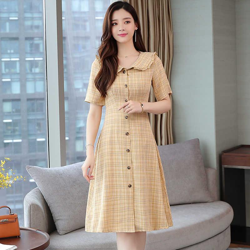 Midi Plaid Geel Zomer Vrouwen Shirt Jurk Slanke Hoge Taille Elegante Vintage Toevallige Thee Jurk Koreaanse Runway 2020 Nieuwkomers