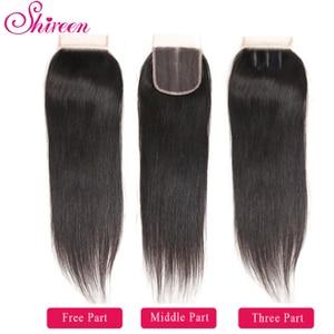 Image 5 - Shireen Brazillian Menschliches Haar Weave 3 Bundles Mit Verschluss 100% Remy Gerade Haar Bundles mit 4x4 Spitze Schließung natürliche Farbe