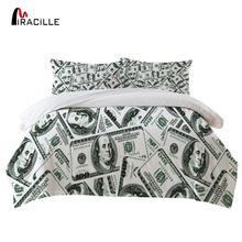 Miracille US Dollar Banknote Bedding Sets Duvets Linen Set Washable Cool Beds Cover Sheet Home Euro Style 4cs/set