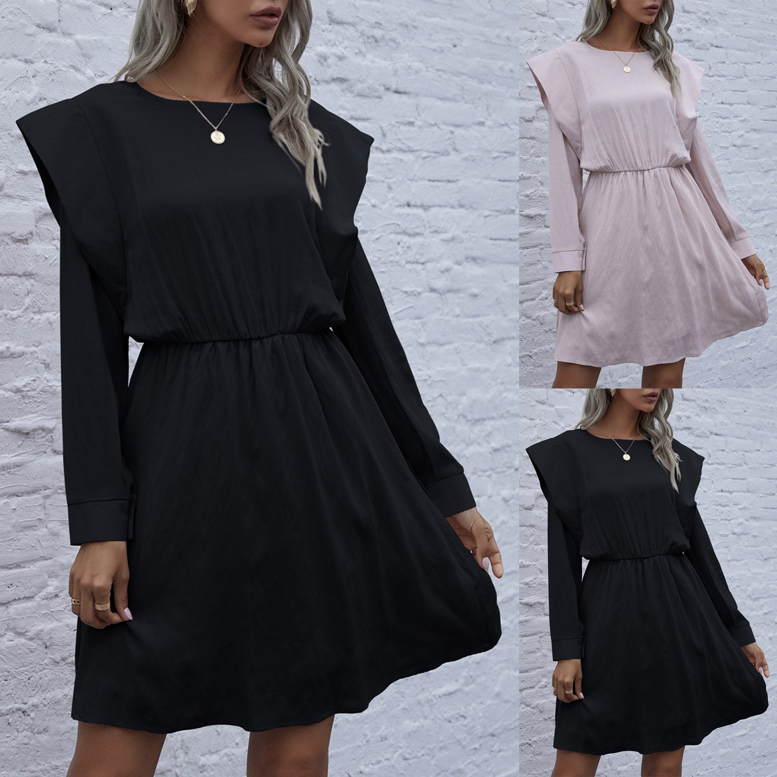 2021 Women's Fashion Dresses Casual Solid Color Round Neck Padded Long Sleeve Knitted Cotton Black Dress Damenbekleidung