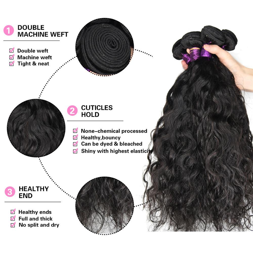 "Paruks Brazilian Natural Wave 100% Human Virgin Hair 1/3/4 Piece 8-40"" Natural  Black Hair Weave Bundles Hair Extensions"