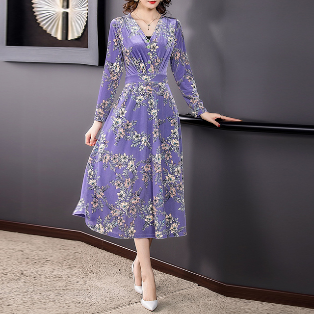ZUOMAN 2021 Fall Winter Purple Floral Velvet Midi Dresses Korea Vintage 3XL Plus Size Long Dresses Women Elegant Party Vestidos 3