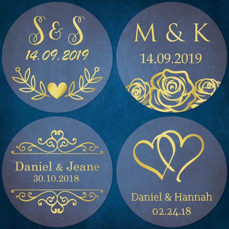 60 x PERSONALISED WEDDING Stickers Date Names Custom Kraft Brown Bombonieres