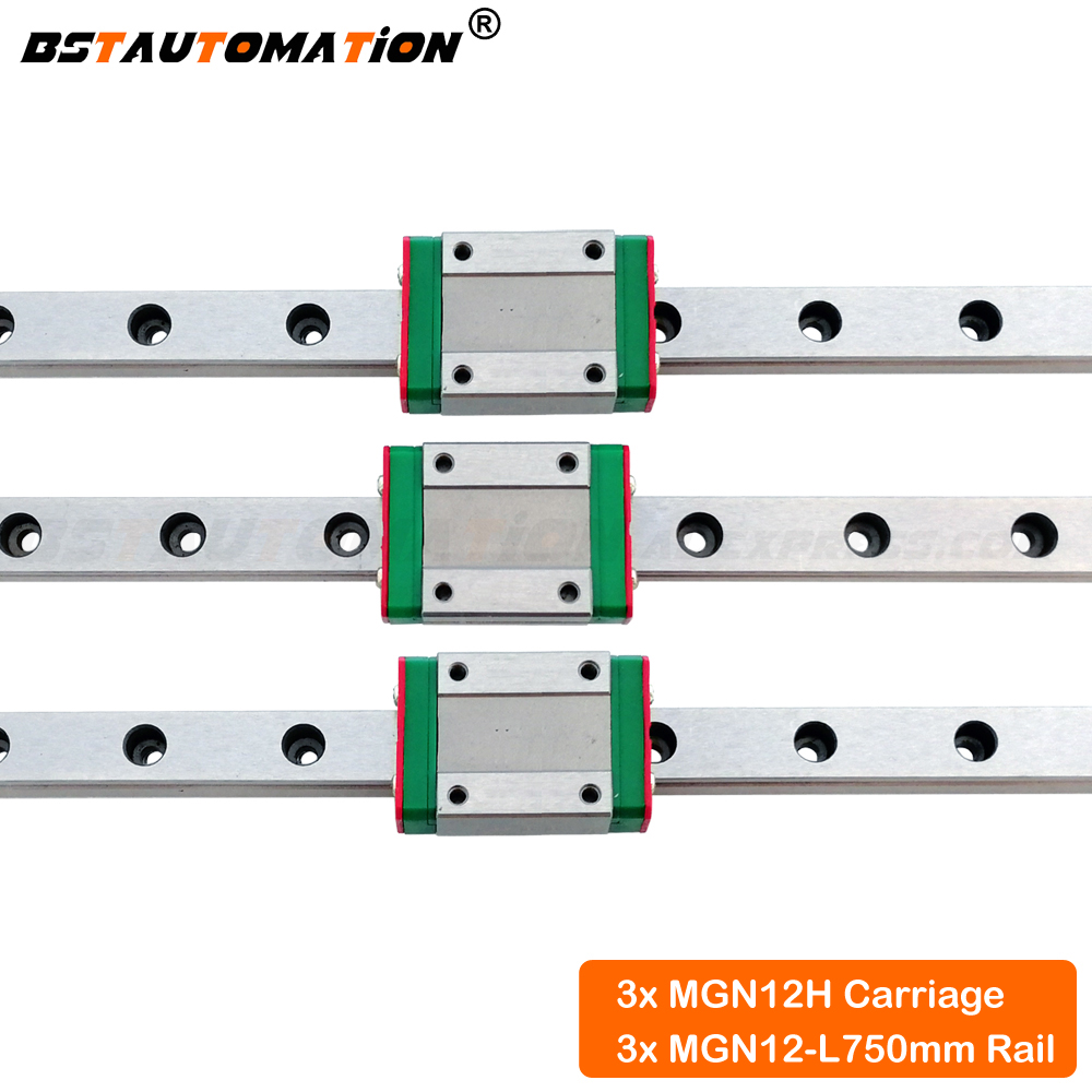 MGN12 Linear Guide 750mm Linear rail with MGN12H Linear carriage block for cnc parts