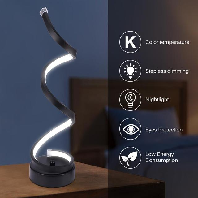 Remote Control Modern Spiral LED Table Lamp Smart Dimmable Curved LED Desk Lamp Warm White Light Acrylic LED Modeling Lamp
