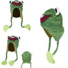 Детская Милая мультяшная лягушка, Вязаная Шапка-бини с заушником, плетеная Длинная кисточка, Утепленная подкладка, ветрозащитная зимняя шапка, теплые войны