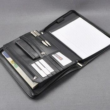 A4 Leer Document Rits Zak Zwart Organizer Tassen Mannen Manager Tas Aktetas Voor Documenten Padfolio Bestand Rits Map 1179B
