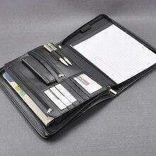 New document folder A4 padfolio portfolio a4 briefcase writing pad PU leather buiness file folder manager bag with zipper 1179