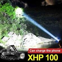 Мощная Супер светодиодная фара xhp100 18650 перезаряжаемый налобный
