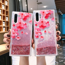 For Samsung Note 10 Case Pro Flower Liquid Quicksand Cover Galaxy 10Pro Note10 Phone Cases