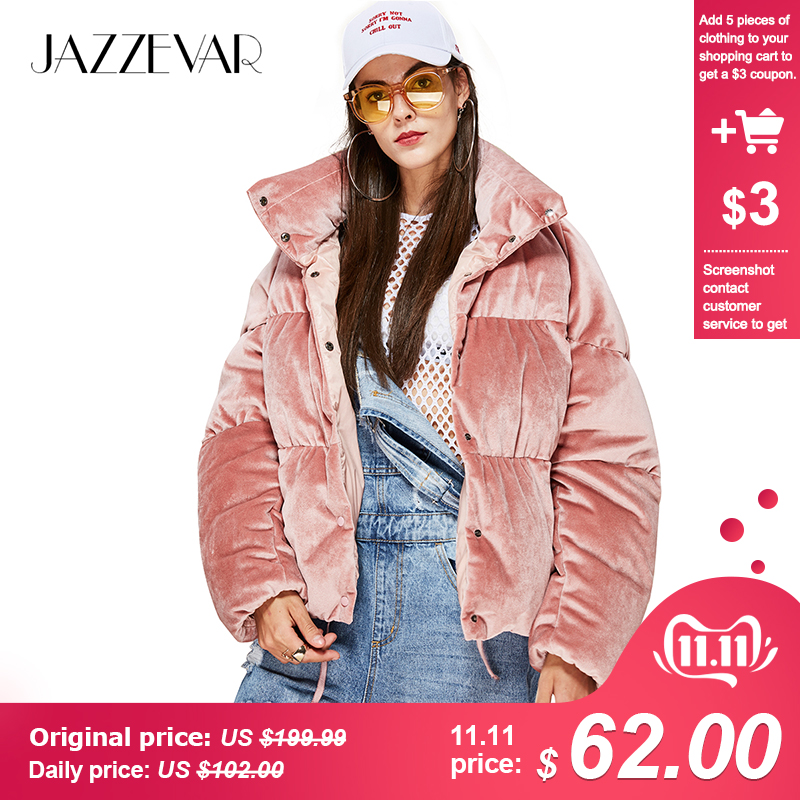 JAZZEVAR 2019 New Winter Fashion Woman Thick 90% Down Jacket Velvet MINI Parkas Pink Sweet Coat Cute Girl's Warm Outwear