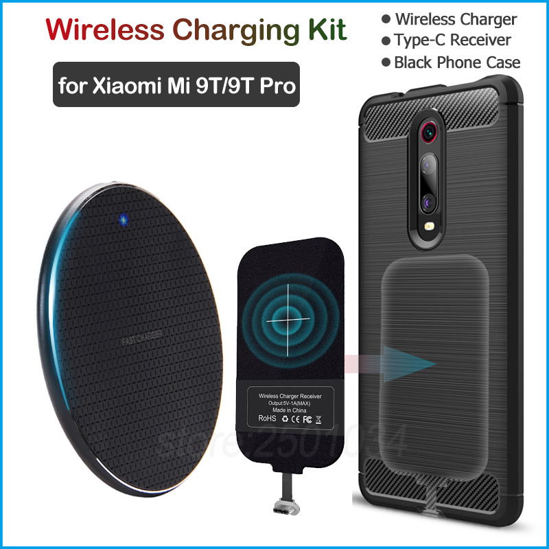 Wireless Charging For Xiaomi Mi 9T/9T Pro/Redmi K20/K20 Pro Qi Wireless Charger+USB Type C Receiver Adapter Gift Soft TPU Case
